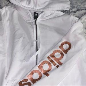Adidas white zipup hoodie jacket